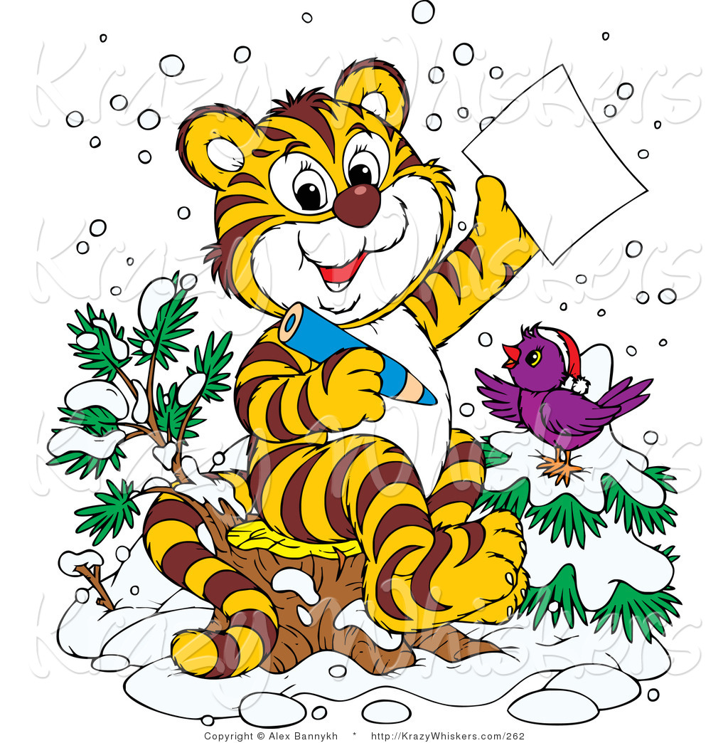 1024x1044 Critter Clipart Of Happy Purple Bird In The Snow, Wearing