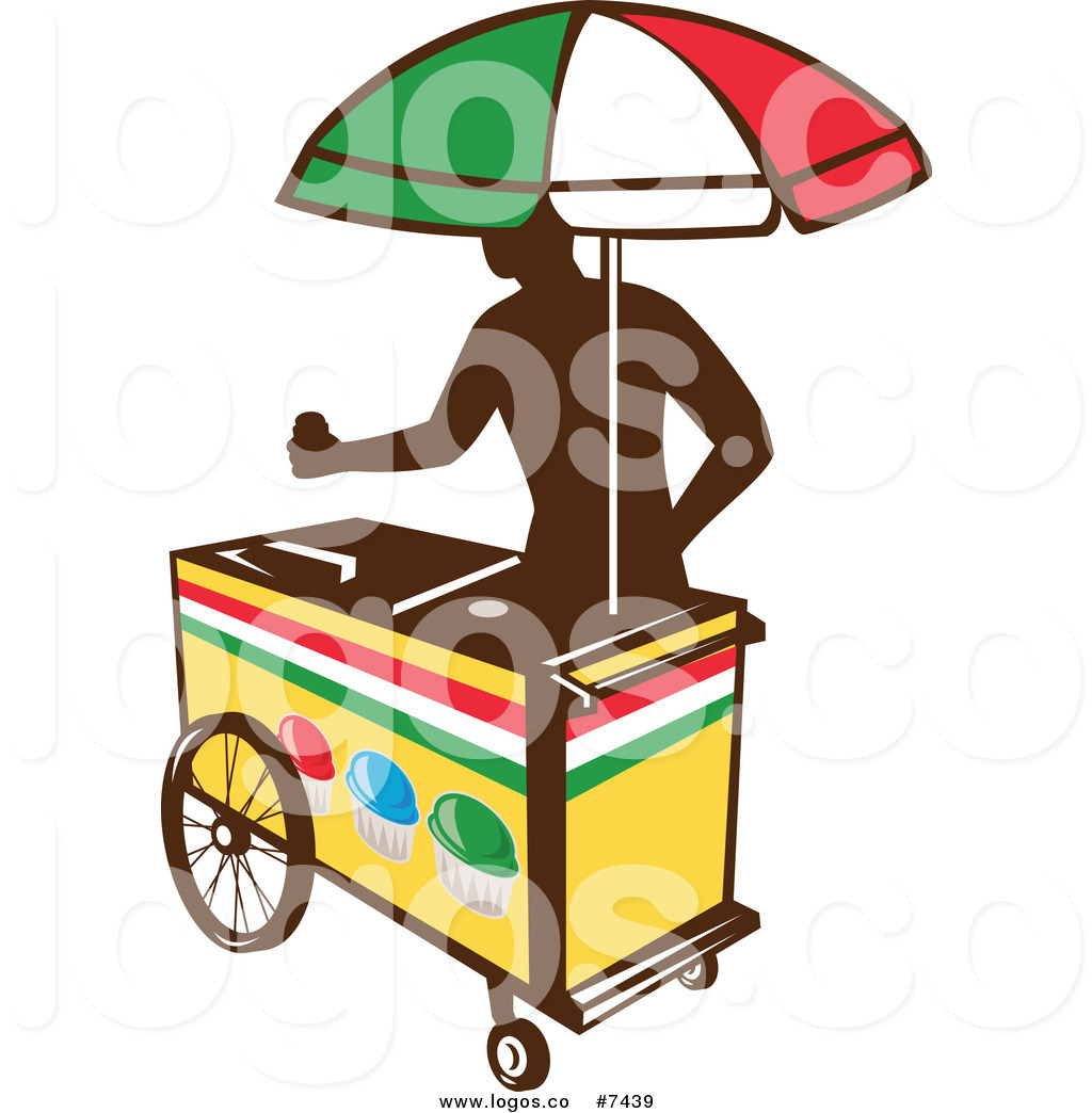 1024x1044 Royalty Free Clip Art Vector Logo Of A Silhouetted Ice Cart Vendor