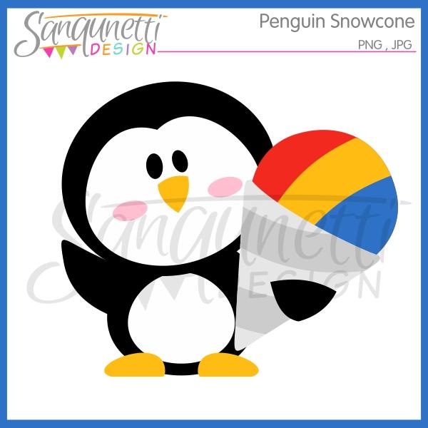 600x600 Sanqunetti Design Penguin Snowcone Clipart
