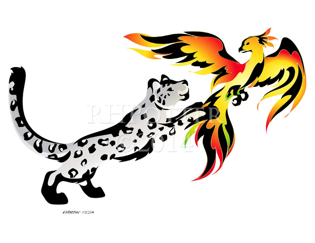1017x786 Snow Leopard And Phoenix By Rhpotter