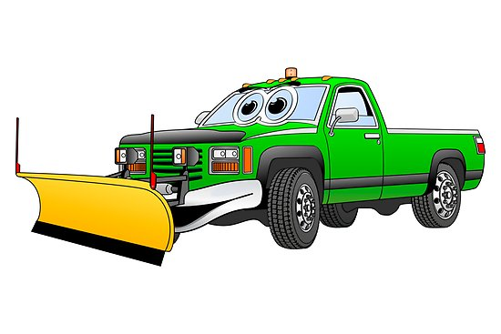550x367 Green Y Pick Up Truck Snow Plow Cartoon Posters By Graphxpro