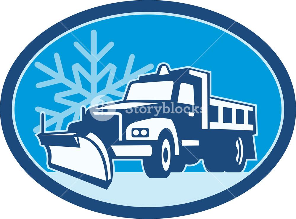 1000x739 Snow Plow Truck Retro Royalty Free Stock Image