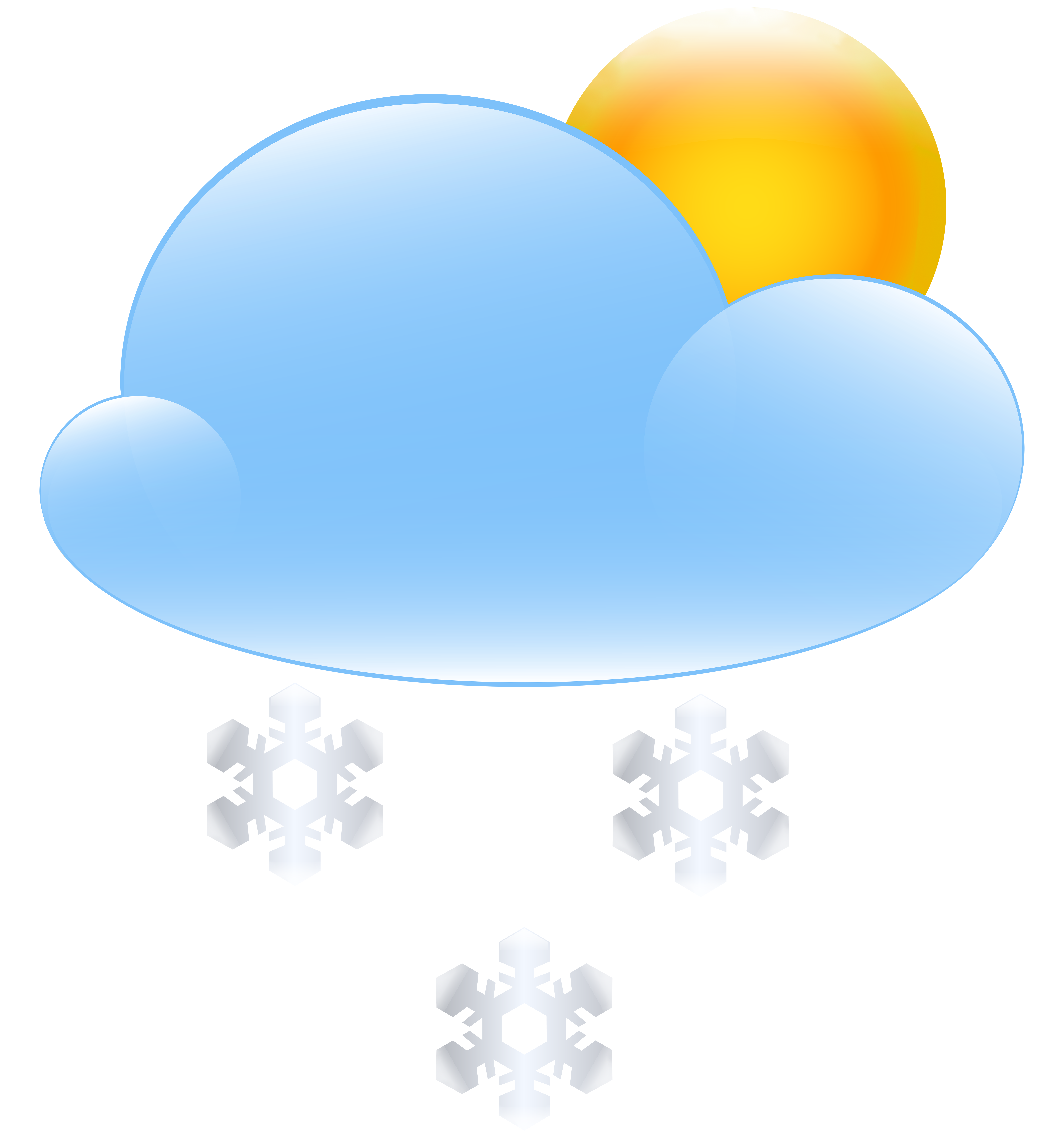 7446x8000 Sun Cloud And Snow Weather Icon Png Clip Art