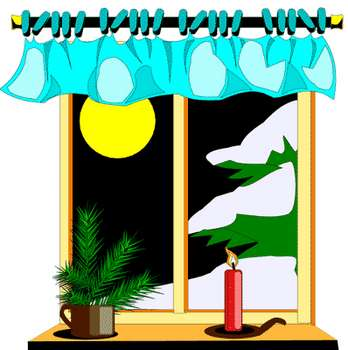 348x350 Free Clipart Picture Of A Night Winter Scene Through A Window