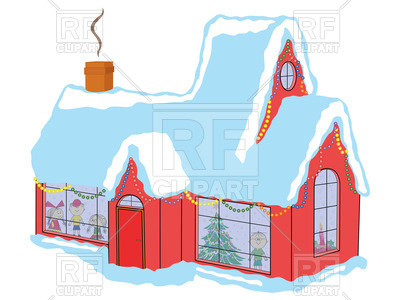 400x300 Red Snow Covered House With Children