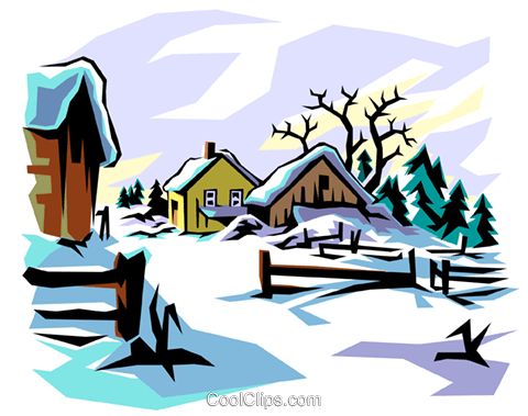 480x379 Winter Scene Royalty Free Vector Clip Art Illustration Natu0007