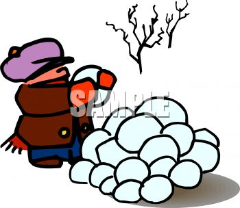 350x304 Royalty Free Clipart Image Cartoon Of A Boy Collecting Snowballs