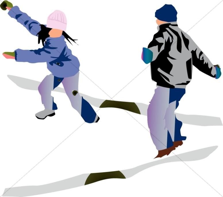 776x685 Snowball Fight! Christian Children Clipart