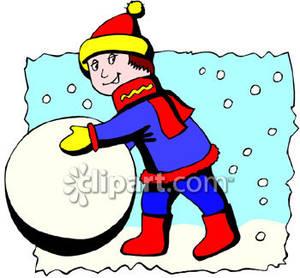 300x278 A Little Boy Rolling A Snowball
