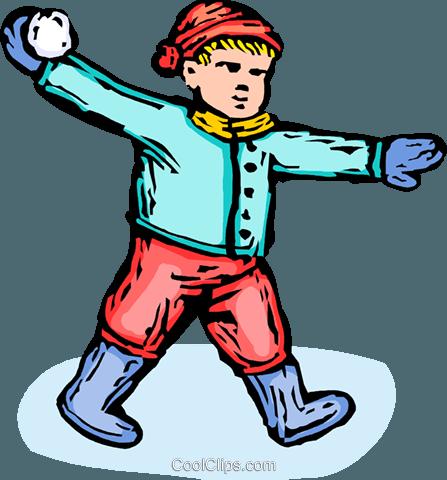 447x480 Boy Throwing A Snowball Royalty Free Vector Clip Art Illustration