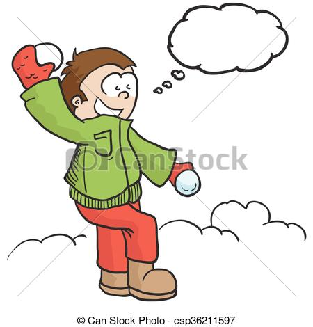 450x470 Boy With Snowball And Tgought Bubble Cartoon Eps Vectors