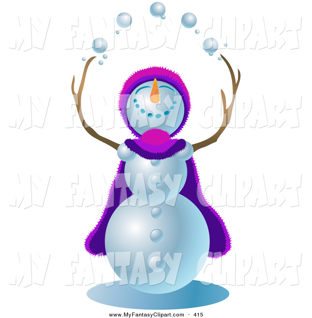 1024x1044 Clip Art Of A Happy Snowman Wearing A Purple And Pink Cape And Hat
