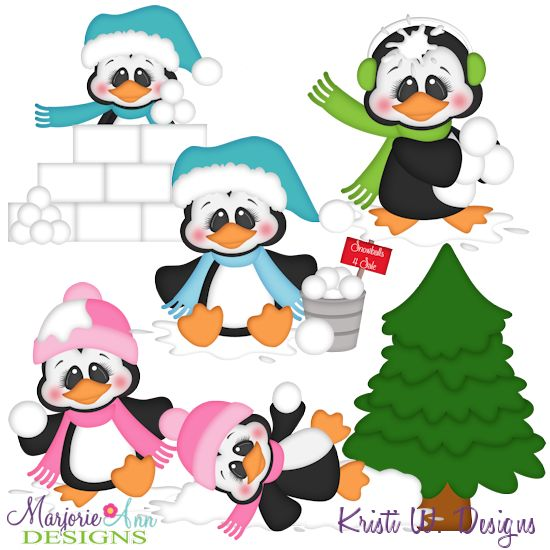 550x550 Snowball Fight Penguins Svg Mtc Png Plus Jpg Cut Out Sheet(S) Our