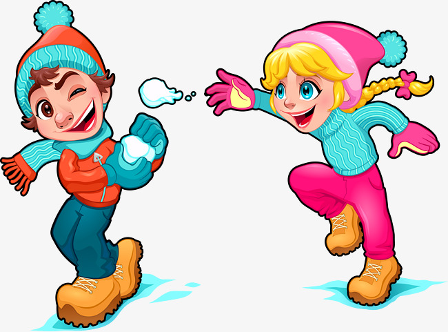 650x481 Vector Hand Painted Snowball Fight Kids, Vector, Hand Painted
