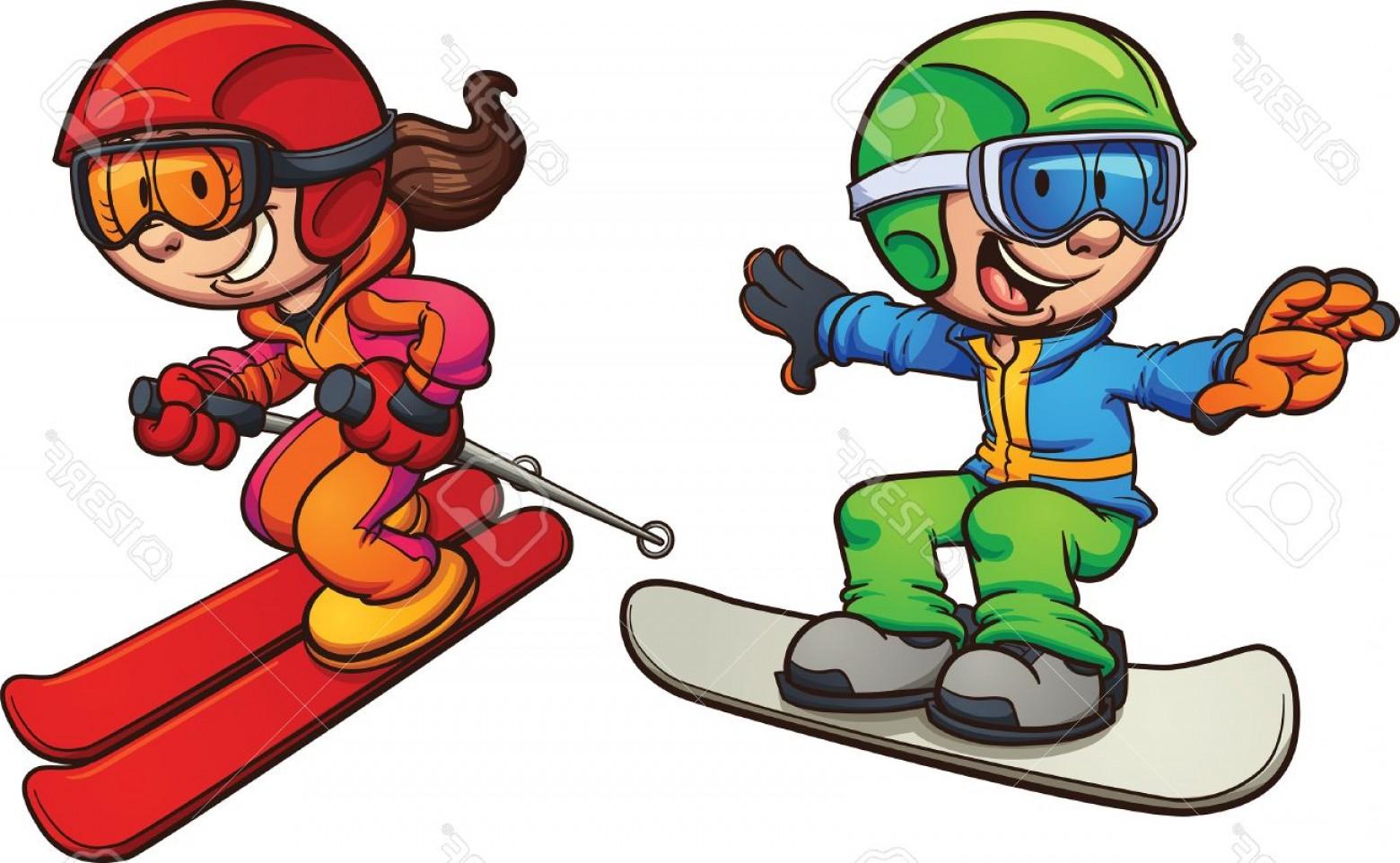 1560x962 Photostock Vector Skiing And Snowboarding Kids Vector Clip Art