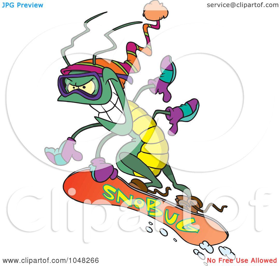 1080x1024 Royalty Free (Rf) Clip Art Illustration Of A Cartoon Snowboarding