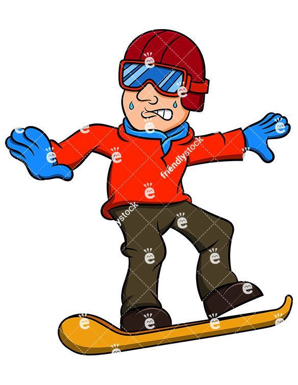 585x755 Scared Man Snowboarding Cartoon Vector Clipart Snowboarding