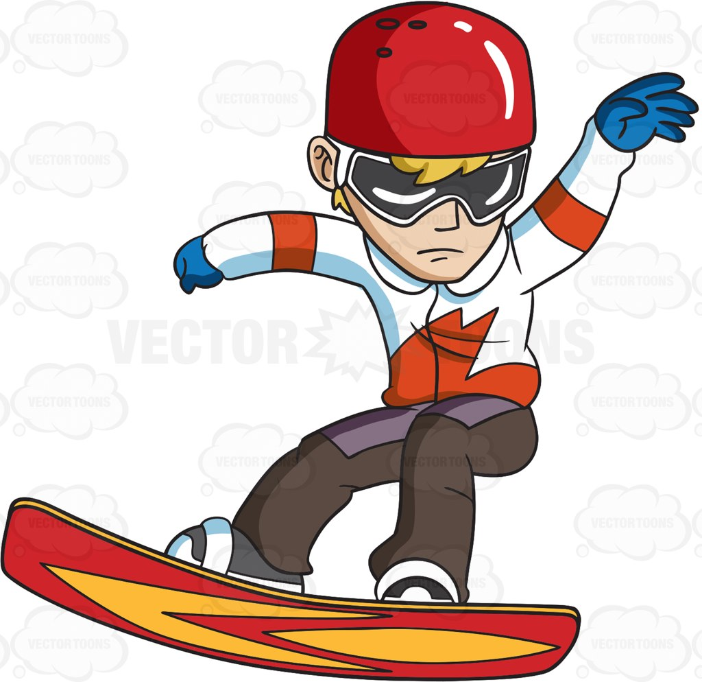 1024x994 A Snowboarder Practicing His Moves Cartoon Clipart