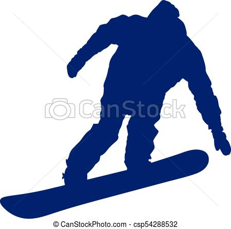 450x446 Blue Silhouette Of A Snowboarder Descending The Mountain