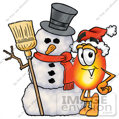 450x450 Clip Art Graphic Of A Fire Cartoon Character With A Snowman