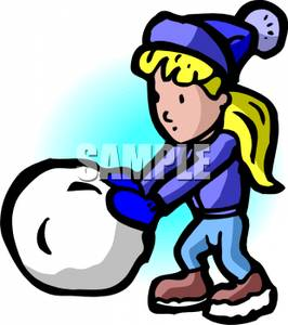 266x300 Clipart Picture A Girl Rolling A Large Ball Of Snow For A Snowman