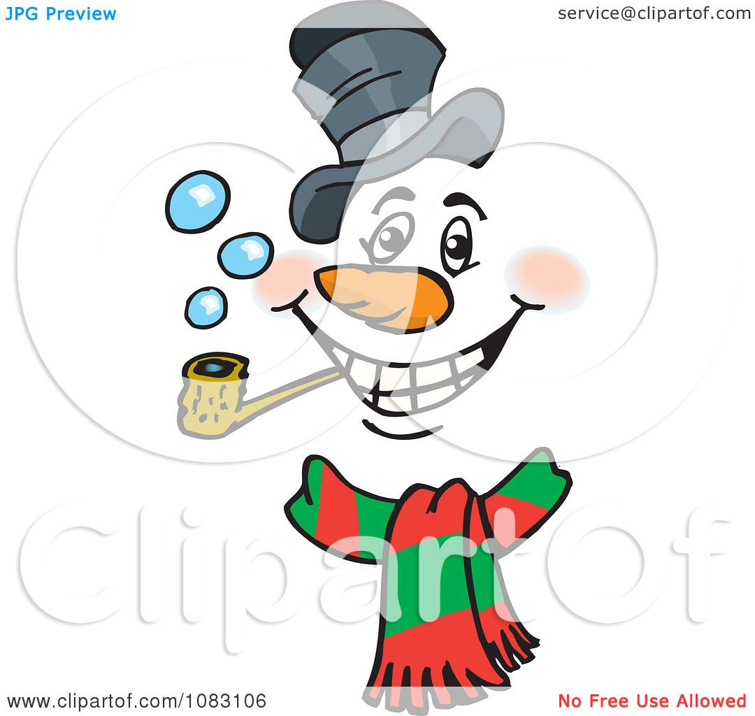 1080x1024 Clipart Christmas Snowman Face Smoking A Pipe