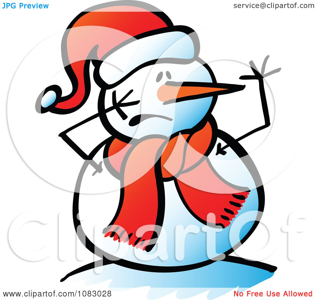 1080x1024 Clipart Expressive Snowman With A Scared Face