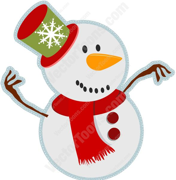 588x600 Smiling Face Snowman With Carrot Nose, Buttons, Red And Green