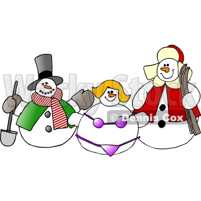 400x400 Frosty The Snowman, Snow Woman In A Bikini And Another Snow Man