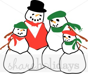 300x265 Happy Snowman Family Snow Images