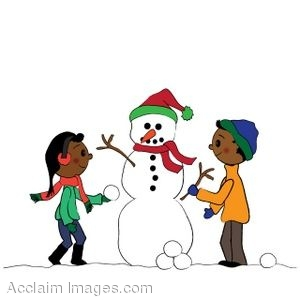 300x300 Clip Art Of A Snowman Being Built By Ethnic Children