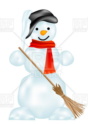 283x400 Snowman With Broom Royalty Free Vector Clip Art Image
