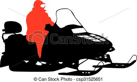 450x271 Silhouette Snowmobile On White Background. Vector Clipart