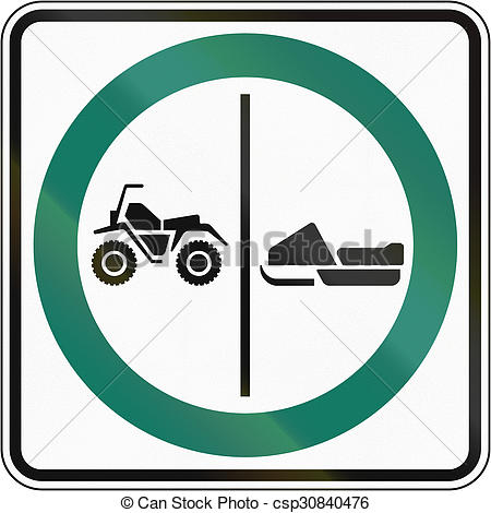 450x470 Atv And Snowmobile Lane Canada. Regulatory Road Sign