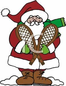 231x300 Cartoon Santa Holding Snowshoes