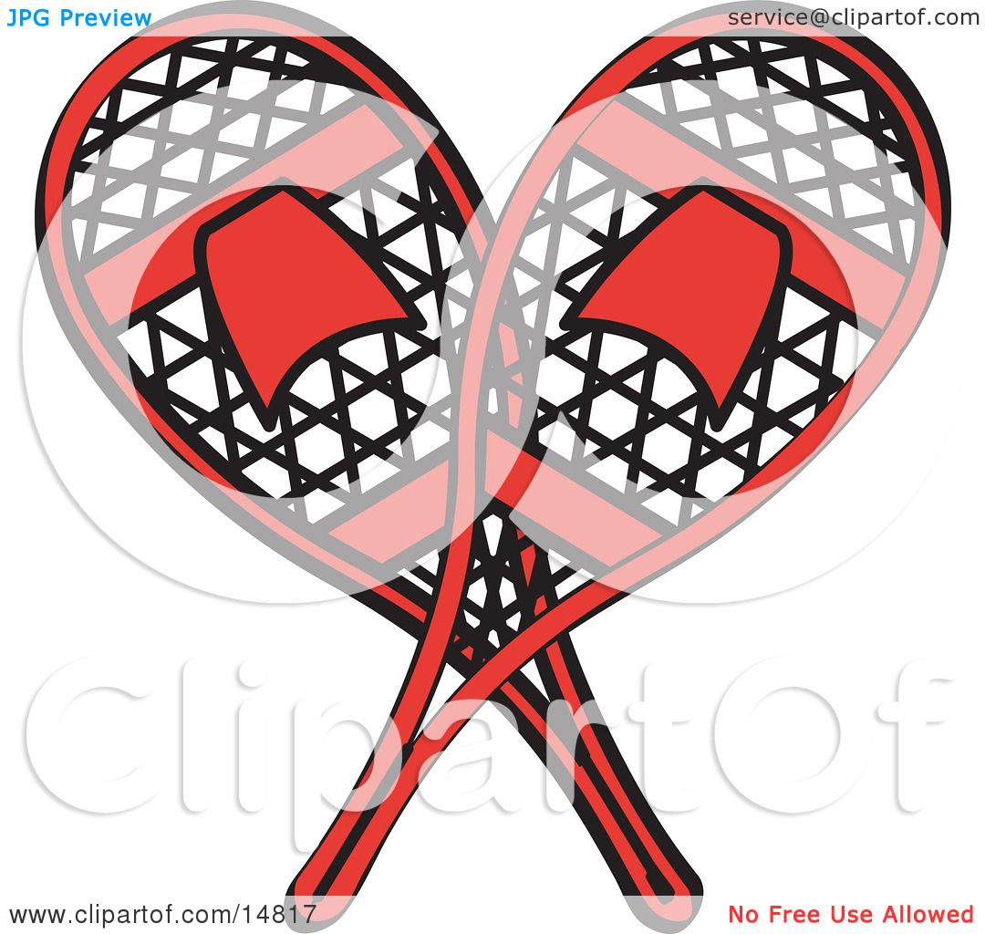 1080x1024 Pair Of Red Snowshoes Crossed Retro Clipart Illustration By Andy