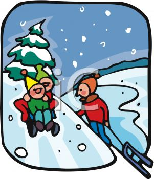 301x350 Picture Of Children Playing In The Snow, Sledding Down The Snowy