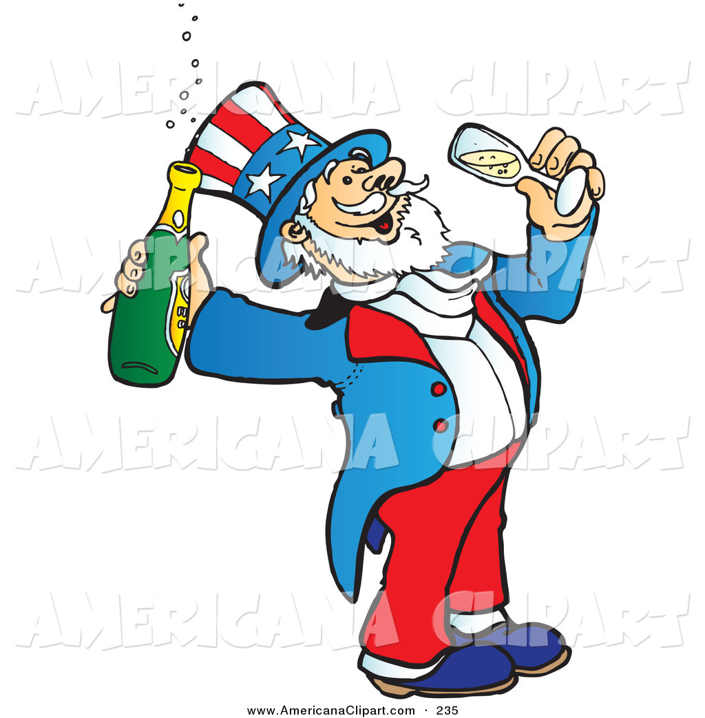 1024x1044 Americana Clip Art Of A Uncle Sam Drinking Bubbly Champagne