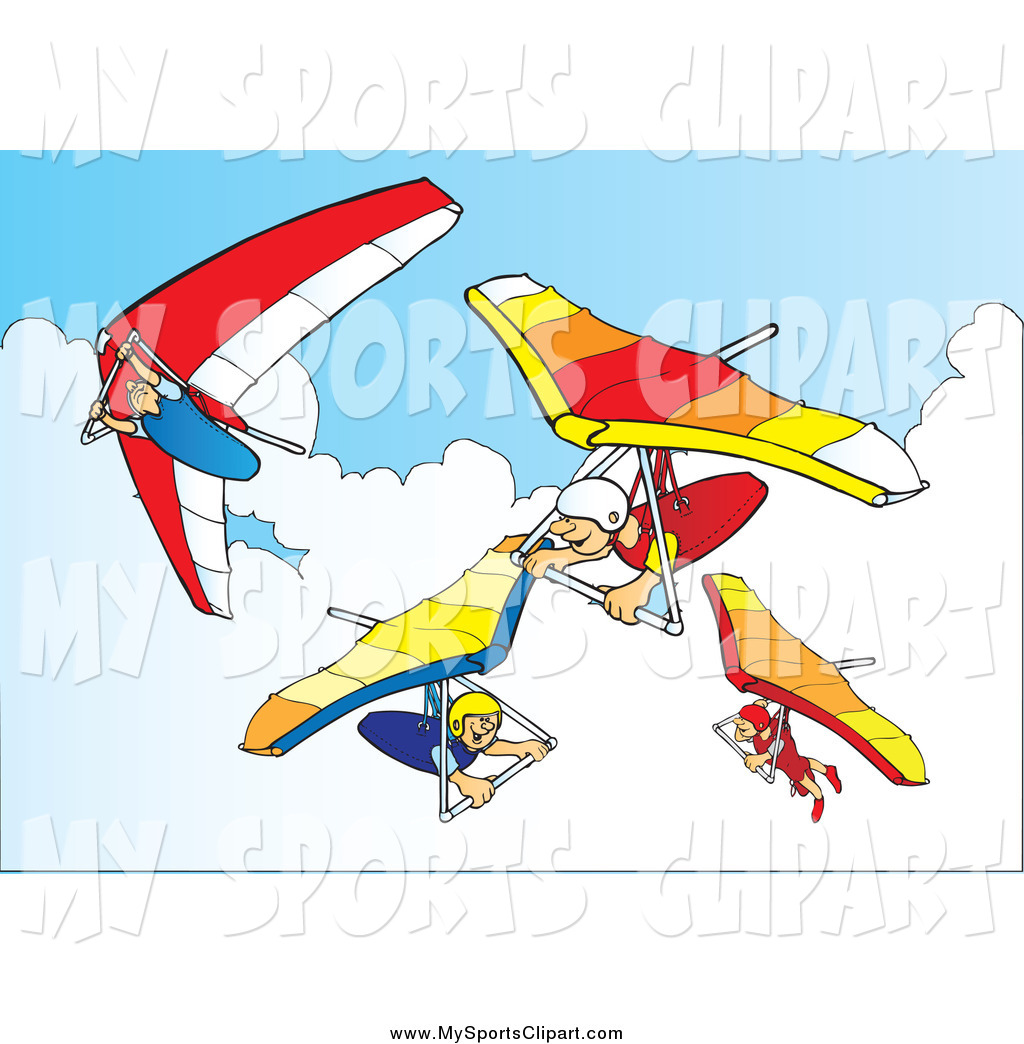 1024x1044 Sports Clip Art Of A Happy People Hang Gliding In The Sky By Snowy