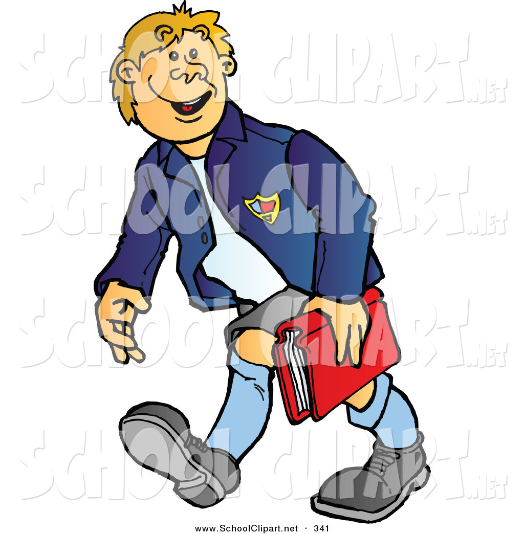 1024x1044 Clip Art Of A Happy High School Boy Walking And Carrying A Book By