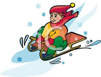 350x266 Picture Of A Boy Sledding Down A Snowy Hill In A Vector Clip Art
