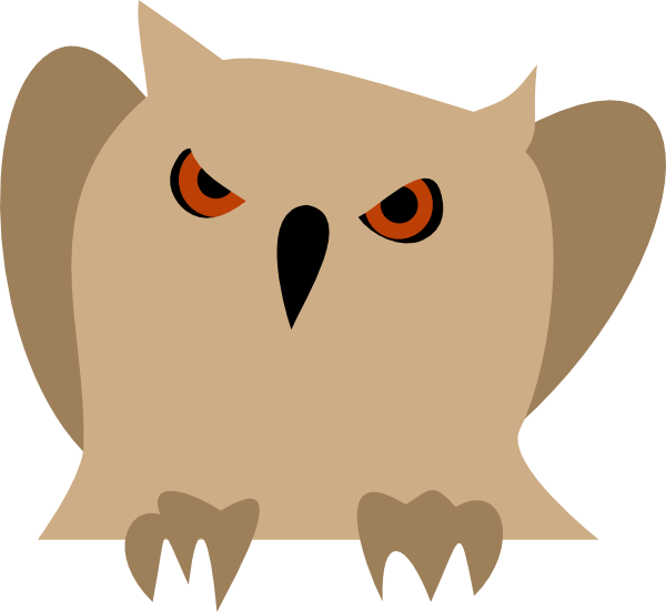 600x552 Owl With Red Eyes Clip Art