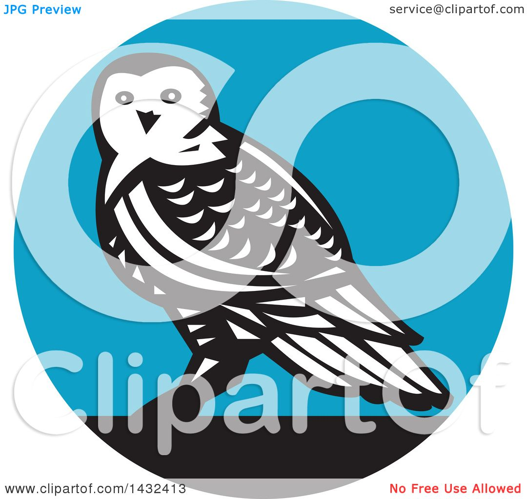 1080x1024 Clipart Of A Retro Snowy Owl In A Black, White And Blue Circle