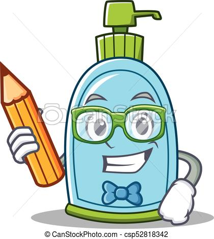 420x470 Student Liquid Soap Character Cartoon Vector Illustration Eps
