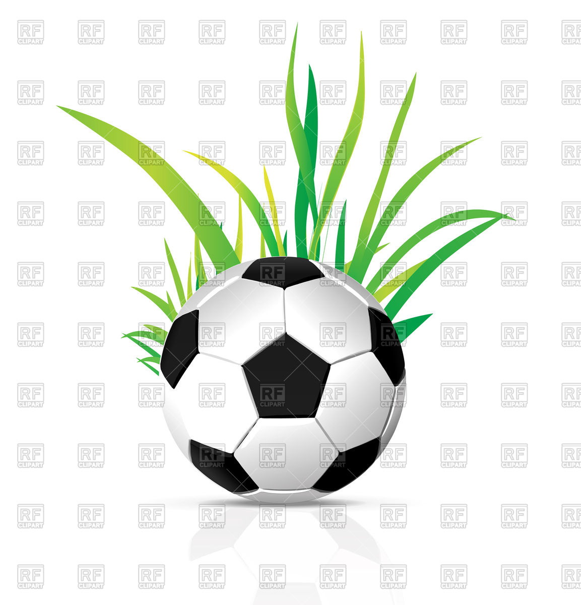 1153x1200 Soccer Ball With Grass Royalty Free Vector Clip Art Image