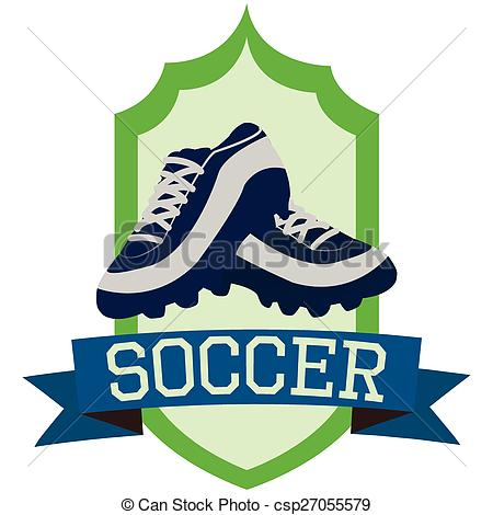 450x470 Isolated Label A Pair Of Soccer Shoes And A Ribbon