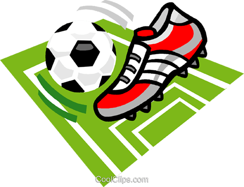 480x369 Soccer Ball And Cleat Royalty Free Vector Clip Art Illustration