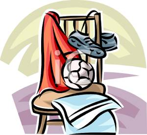 300x277 A Pair Of Cleats And A Soccer Ball On A Chair