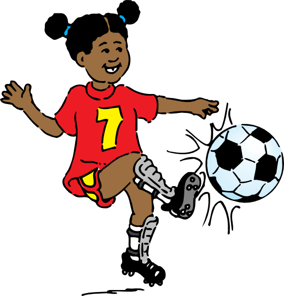 570x595 Girls Playing Soccer Clipart