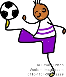 257x300 Clipart Image Of A Happy Little Boy Playing Soccer
